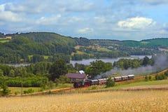 Tren retro viejo del vapor que pasa la orilla del lago Fotos de archivo libres de regalías