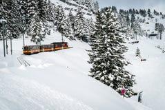 Tren rojo que va abajo de la montaña Fotografía de archivo libre de regalías