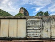 Tren viejo abandonado del transporte de mercancías por ferrocarril Imagenes de archivo