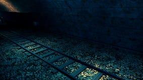 Tren viejo del vapor en túnel fotos de archivo