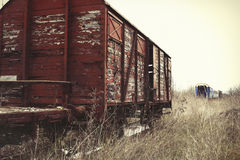 Tren viejo y abandonado del cargo Fotografía de archivo libre de regalías