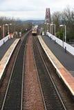 Tren y adelante el puente del carril Fotografía de archivo libre de regalías