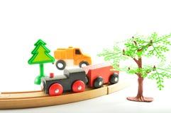 Tren y camión, grúa Juguetes para la ilustración de children Imagen de archivo libre de regalías