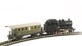 Tren y carro en el fondo blanco fotografía de archivo