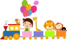 Tren y muchacha lindos ilustración del vector