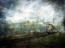 Tren y nave ilustración del vector