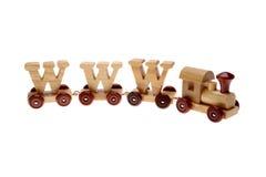 Tren y WWW del juguete Imágenes de archivo libres de regalías