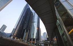 Trena av de mest recognisable himmelscrappersna i Hong Kong. Arkivbilder
