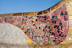 Trencadis. Mosaic in Trencadis style on a bench of Park Guell, Barcelona, Catalonia Royalty Free Stock Image