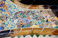 Trencadis Mosaic at Gaudi Park Guell in Barcelona Stock Photo