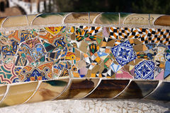 Trencadis Mosaic at Gaudi Park Guell in Barcelona. Trencadis abstract mosaic from broken tile shards, part of Serpentine Bench at Gaudi's Park Guell in Barcelona Stock Photography
