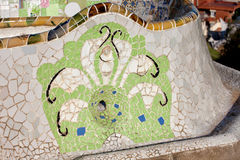 Trencadis Mosaic at Gaudi Park Guell in Barcelona. Trencadis abstract mosaic, part of Serpentine Bench at Gaudi's Park Guell in Barcelona, Catalonia, Spain Royalty Free Stock Photos
