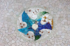 Trencadis Mosaic in Park Guell in Barcelona. Trencadis mosaic from broken tile shards on the ceiling of Hypostyle Room in Park Guell, Barcelona, Catalonia, Spain Stock Photos
