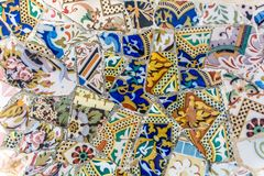 Trencadis mosaics in Park Guell royalty free stock photography
