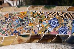 Trencadismozaïek bij Gaudi-Park Guell in Barcelona stock fotografie