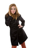 Trench Coat. Fashion model in trench coat on white background Royalty Free Stock Images