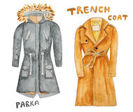 Trench coat. Parka. Hand drawn watercolor illustration. Stock Image