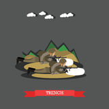 Trench concept vector illustration in flat style Stock Images