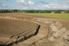 Trench digged on a land Stock Image