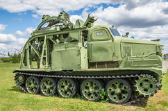 Trench-digging vehicle based on tractor ATS-59 Stock Images