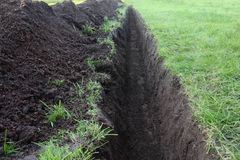 Trench in the ground closeup Royalty Free Stock Photo