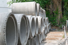Trench mortar or Cement pipes Stock Image