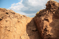 Trench na terra Fotografia de Stock