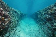 Trench underwater into ocean floor Pacific ocean Stock Images