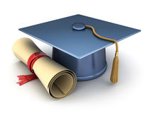 Trencher-cap and diploma Stock Photography