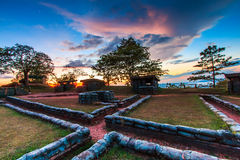 Trenches and bunkers in the sunset Stock Photos