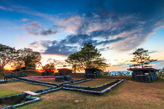 Trenches and bunkers in the sunset Stock Photo