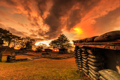 Trenches and bunkers in the sunset Stock Images