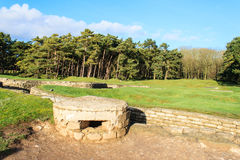 The trenches and craters on battlefield of Vimy ridge. Stock Photo