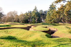 The trenches and craters on battlefield of Vimy ridge. Stock Photography