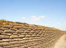 Trenches of death WW1 sandbag flanders fields Belgium Stock Image