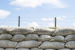Trenches of death WW1 sandbag flanders fields Belgium royalty free stock photo
