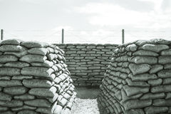 Trenches of death WW1 sandbag flanders fields Belgium Stock Image