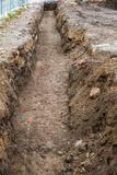 Trenches dug in the city. Close view stock images