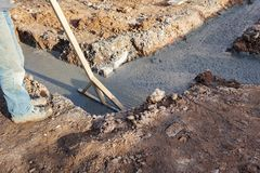 Trenches filled with concrete royalty free stock photos