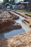 Trenches filled with concrete royalty free stock photography