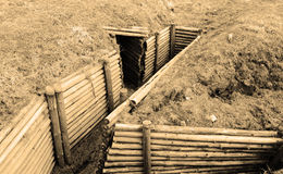 Trenches of World War II. Sepia. Stock Photos
