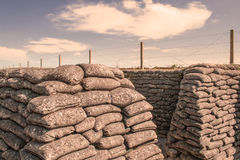 The Trenches of world war one sandbags in Belgium Stock Photo