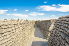 Trenches of world war one sandbags in Belgium Stock Photography