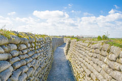 Trenches of world war one sandbags in Belgium Royalty Free Stock Photos