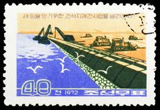 Trenching, Transformation of the landscape serie, circa 1972. MOSCOW, RUSSIA - MAY 25, 2019: Postage stamp printed in Korea shows Trenching, Transformation of stock photos