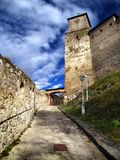 Trencin Castle entrance. View of a Trencin castle entrance and clock tower Royalty Free Stock Photo