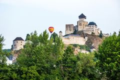 Balloon over castle in Trencin, Slovakia Royalty Free Stock Photography