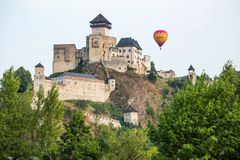 Trencin in Slovakia. Ballon over the castle. Stock Images