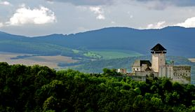 Trencin Castle Slovakia. Castle in trencin, slovakia.with green countryside Royalty Free Stock Photo