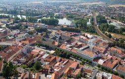 Trencin from castle - Slovakia Stock Photo